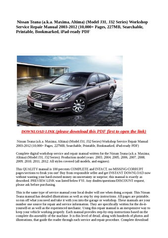 2012 nissan maxima owners manual